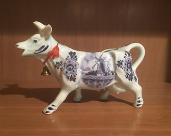 Vintage Delft Porcelain Blue on Light Blue Cow with Bell Creamer - DBL with Crown.