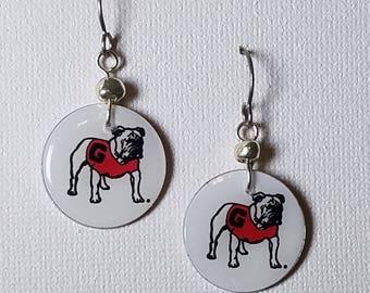 Georgia Bulldog earrings, Georgia Bulldog jewelry, Georgia Bulldogs, school spirit jewelry