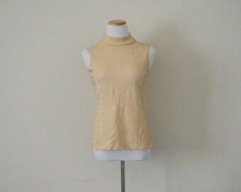 FREE usa SHIPPING vintage women's sleeveless metallic gold turtle neck retro groovy fashion flashy edgy neck size S-M