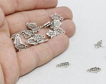 Hamsa, 10 pcs Antique Silver Hamsa Charm, 8,5x13mm , Antique Silver Hamsa Jewelry Findings, Hamsa Pendant, Turkish Hamsa , AG65