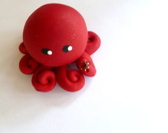 Birthstone  Little Octopus Mini Marble Friend in Birthday Month of January Garnet-Deep Red with Faux Gemstone