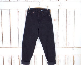 Levi Strauss & Co black denim 560 loose fit denim jeans/high waisted straight leg jeans/Levi Strauss jeans