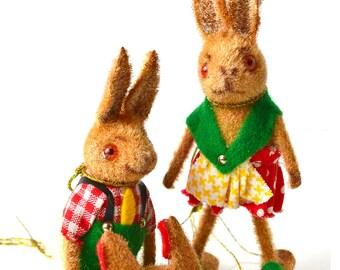Kunstlershutz Flocked Animals, Bunny Rabbit Couple Handwork West Germany