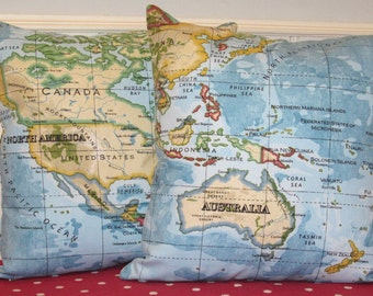 World Map Cushion Covers, World Map Pillow Covers, Map Cushion Covers, Set of Two, Map Pillow Shams, Blue Atlas Pillow Covers 16 x 16 Inch