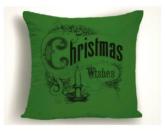 Christmas Wishes Throw Pillow,  Christmas Pillow Covers, Holiday Pillows, Unique Christmas Decorations