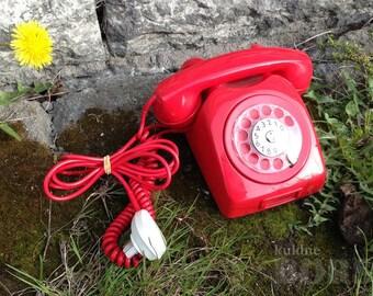 Vintage Scandinavian Red Rotary Phone 1960