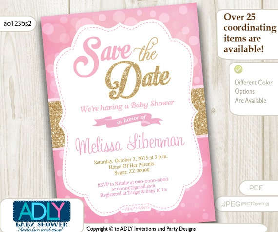 Elegant Save The Date Invitation For Baby Shower Bokeh Pink And Gold