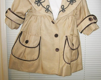 CLEARANCE........Doll Coat, Expertly Made, Cording And Floral Design, Fully Lined Coat, Hand Made Doll Clothing For Large Doll,
