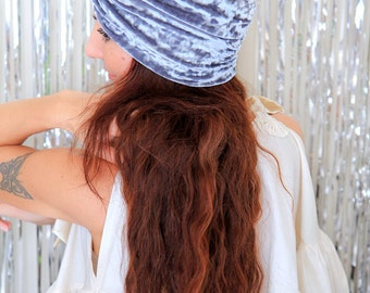 Turban Headband in Grey Crushed Velvet - Women's Fashion Hair Wrap - Lots of Colors