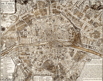 Vintage style map etsy 1705 paris map vintage restoration style wall map decor old world map city plan of paris france street map print anniversary gift gumiabroncs Gallery
