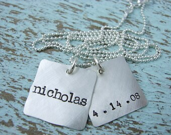Hand Stamped Necklace-Name Charm Necklace-Birthdate Necklace