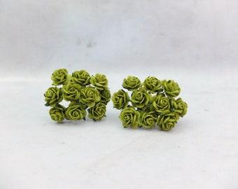 20 true green paper roses (15mm) - paper rose - 1.5 cm rose - green paper flowers - green mulberry paper flowers