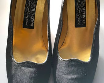 Andrea Pfister gold and black open toe heels