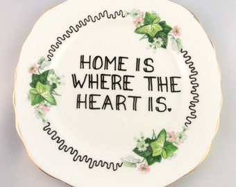 Home is Where the Heart is Vintage Floral Side Plate Ornamental Green Ivy Dish Bone China Display Saucer Housewarming Gift Ceramic Present