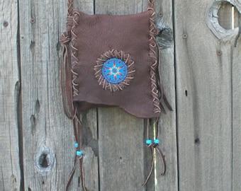 Leather handbag , Chocolate brown crossbody phone bag, Beaded handbag, Leather phone case, Beaded sunburst