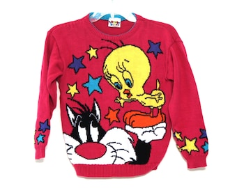 Vintage 90s Looney Tunes sweater tweety sylvester hot pink 1993