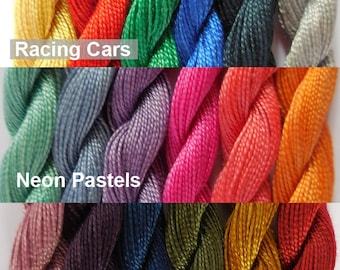 Assorted Coloured Hand Dyed Cotton Threads - 6 Colour Packs (Racing Cars, Neon Pastels & Regency)