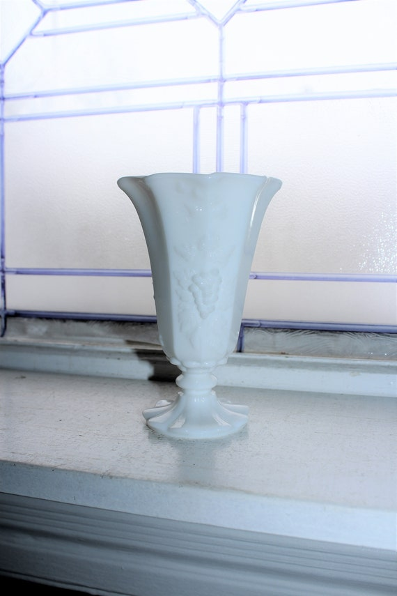 Milk Glass Footed Vase Grapes Pattern