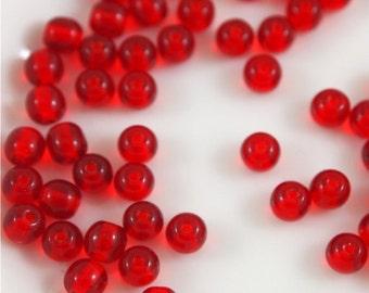 4mm Druk Beads-Siam Ruby-Qty 50 (CZ 4R SR)