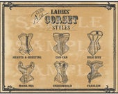 """Ladies Corset Printable 11X14"""" Poster Victorian Steampunk Sweetheart Can-can High Dive Mama Mia Underworld Fraulein Sexy Lingerie Names"""