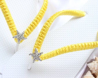 Beach wedding shoes, Bridal flip flops, Sunny Yellow Wedding flip flops, Starfish bridal sandals, Custom flip flops, Dancing shoes