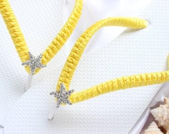 Beach wedding shoes, Bridal flip flops, Sunny Yellow Wedding flip flops, Starfish bridal sandals, Custom flip flops, Dancing shoes