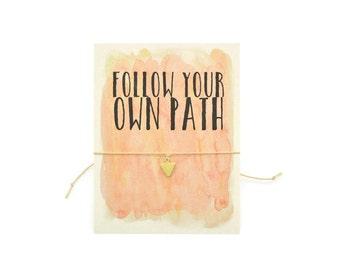 Follow Your Path Wish Bracelet, Make A Wish, Arrow Jewelry, Tie On Bracelet, Wishing Jewelry, Graduation Gift, Encouragement, Inspirational