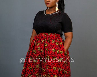 Red African midi skirt with pockets, Ankara skirt, African print, African clothing for women, women clothing, African skirt