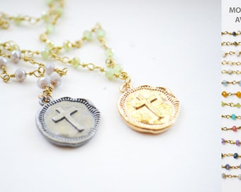 Cross Necklace, Gold Coin Necklace, Coin Necklace, Gemstones necklace, Gemstone necklace, Gemstone jewelry, Gold necklace, Necklaces