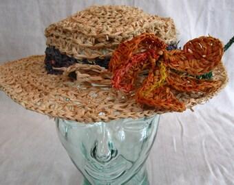 Indian Summer Raffia Hat with Orange Hibiscus