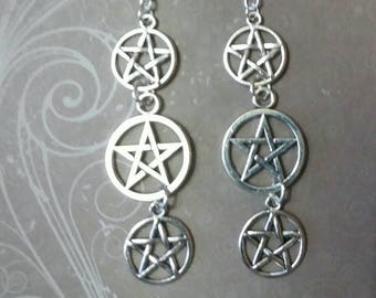 Wiccan pentacle earrings, jewlery, pagan, paganism, wicca, witch jewlery