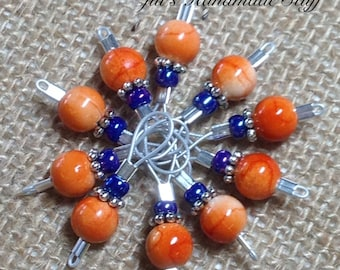 Orange Wire Loop Stitch Markers- Snag Free Stitch Markers- Gift for Knitters