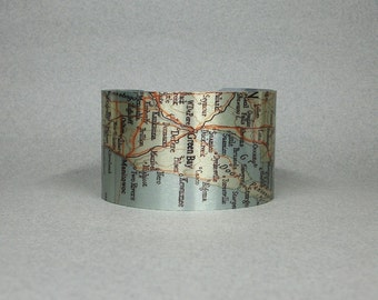 Green Bay Wisconsin Cuff Bracelet  Map Unique Gift for Men or Women