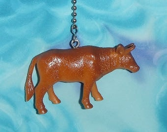 One - Bull Tan Farm Animal ~ Ceiling Fan Pull