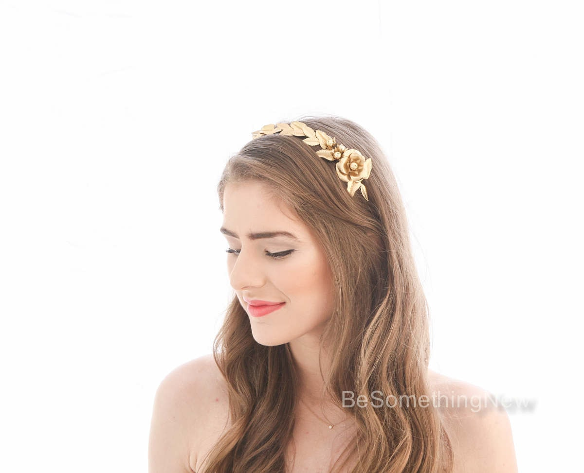 Gold leaf headband with large flower grecian laurel headband zoom izmirmasajfo