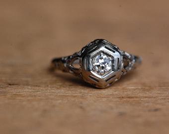 Vintage 18K Art Deco .25 carat Old European Cut diamond filigree ring