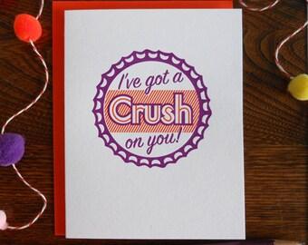 letterpress i've got a crush on you greeting card orange crush bottlecap secret admirer love card anniversary