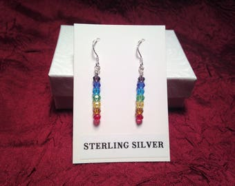 Sterling Silver Earrings in a Rainbow Chakra Design