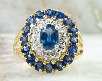14K Yellow Gold 3.50ctw Sapphire Gemstone Ring with Diamond Accents Size 8