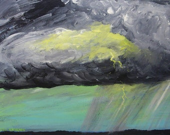 storm painting, Thunderstorm, original acrylic painting on canvas, cloud painting, landscape, original art, sky painting, lightning painting