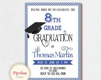 8th Grade Graduation invite. Printable graduation invitation. 8th grade invitation. 8th grade Promotion