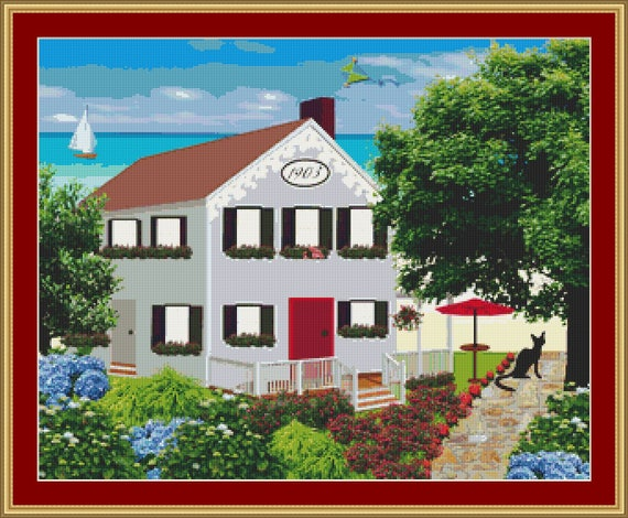 Cat At The Seaside House Cross Stitch Patten /Digital PDF Files /Instant downloadable