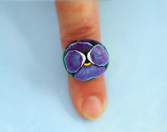FREE SHIPPING-painted rock amethyst teal pansy blossom adjustable silver ring fashion gift for her under 30 botanical statement grandmother