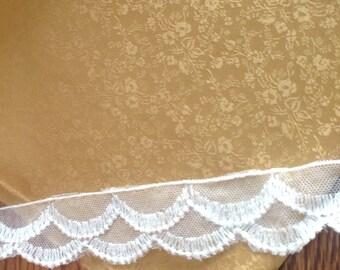 "GOLD, Silk Jacquard Fabric, dyed to match silk ribbon, Color ribbon...54,  1 yard,  45"" wide"