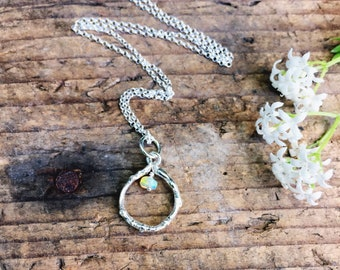 Sterling silver twig necklace with opal, opal necklace, silver circle necklace
