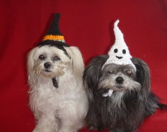 Dog or Cat- Halloween WITCH or GHOST HAT - Humorous - Choose color - 2 to 20 lb pets - need measurement