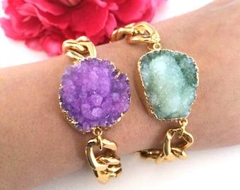 druzy stone bracelet - druzy jewelry - agate stone charm - chunky chain bracelet - bohemian jewelry - tassel bracelet