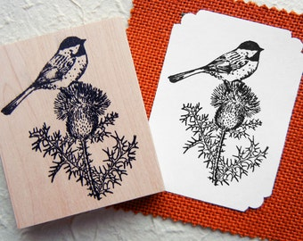 Black Capped Chickadee Bird and Thistle Rubber Stamp - Handmade by BlossomStamps
