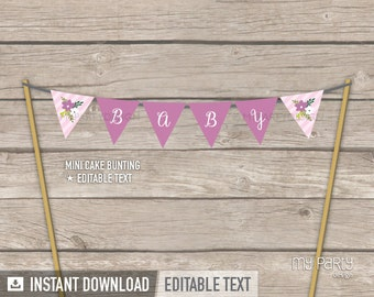 Floral Baby Shower - Cake Bunting - Mini Banner - Cake Topper - Girl Pink Stripes - INSTANT DOWNLOAD - Printable PDF with Editable Text