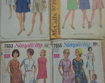 1960s Dress Patterns Simplicity McCall's Vintage Women's 4 patterns